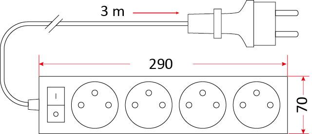 Szkic: Przedłużacz budowlany z wyłącznikiem i uziemieniem PB/4-3-3+W